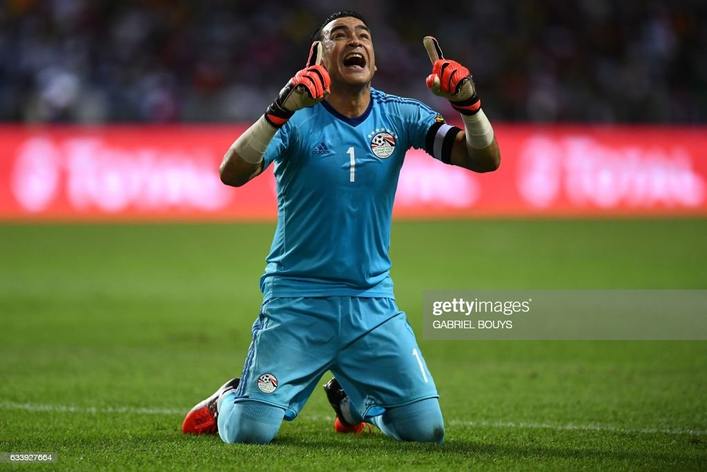 Egypt's goalkeeper Essam El-Hadary reacts after Egypt scored the first goal of the match during the 2017 Africa Cup of Nations final football match between Egypt and Cameroon at the Stade de l'Amitie Sino-Gabonaise in Libreville on February 5, 2017. /