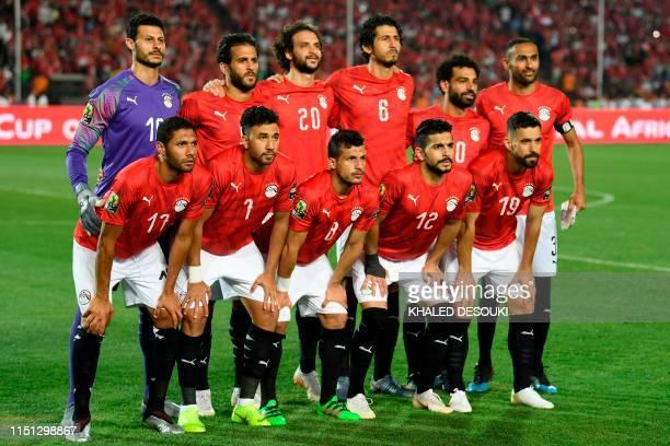 Egypt's goalkeeper Mohamed El Shenawy Egypt's forward Marwan Mohsen Egypt's defender Mahmoud Alaa Egypt's defender Ahmed Hegazi Egypt's forward...