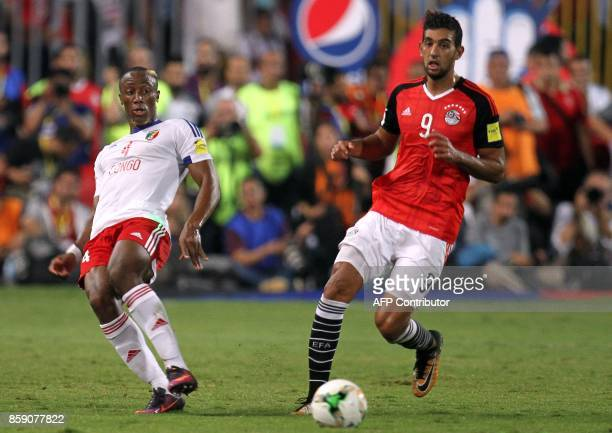 Egypt's Hassan Ahmed vies for the ball against Congo's Fernand Mayembo during their World Cup 2018 Africa qualifying match between Egypt and Congo at...