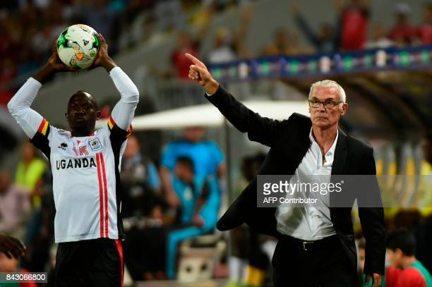 Egypt's head coach Hector Cuper gestures during the FIFA World Cup 2018 qualification football match between Egypt and Uganda at the Borg alArab...