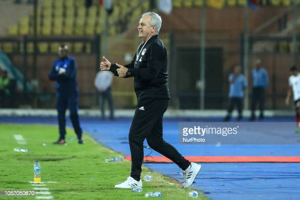 Egypts head coach Javier Aguirre reacts during the Africa Cup of Nations qualifier match between Egypt and Swaziland on October 12 2018 in AlSalam...