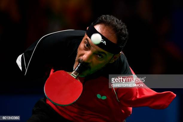 Egypt's Ibrahim Hamadtou competes in table tennis at the Riocentro during the Paralympic Games in Rio de Janeiro, Brazil on September 9, 2016. / AFP...