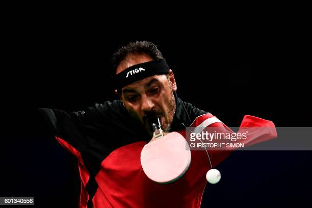Egypt's Ibrahim Hamadtou competes in table tennis at the Riocentro during the Paralympic Games in Rio de Janeiro Brazil on September 9 2016 / AFP...