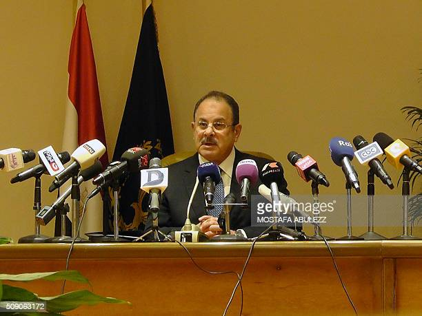 Egypt's interior minister Magdy Abdel Ghaffar speaks during a press conference on February 8 2016 in the capital Cairo Egypt's interior minister...