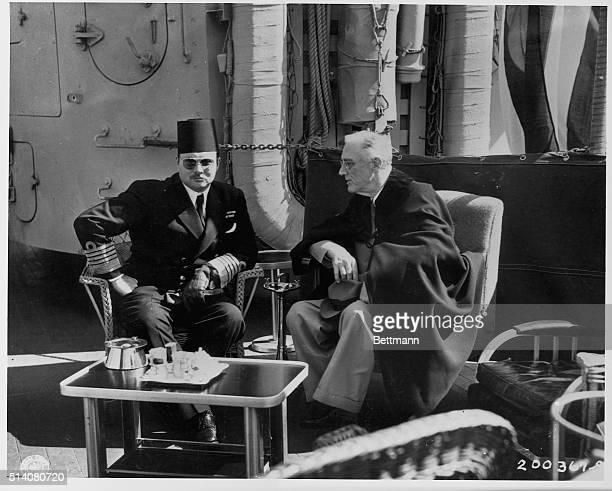 Egypt's King Farouk I meets with US President Franklin Delano Roosevelt