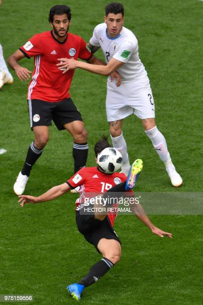Egypt's midfielder Abdallah Said attempts to play the ball during the Russia 2018 World Cup Group A football match between Egypt and Uruguay at the...