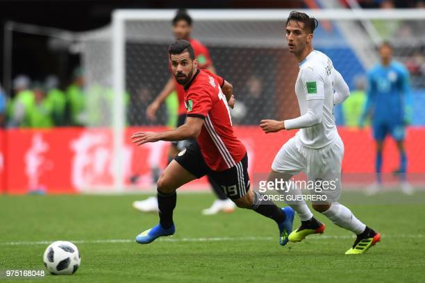 Egypt's midfielder Abdallah Said is challenged by Uruguay's midfielder Rodrigo Bentancur during the Russia 2018 World Cup Group A football match...