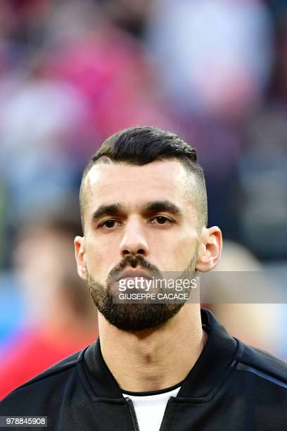 Egypt's midfielder Abdallah Said looks on prior to the Russia 2018 World Cup Group A football match between Russia and Egypt at the Saint Petersburg...