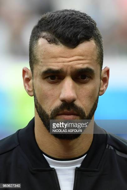 Egypt's midfielder Abdallah Said poses for a photo before the Russia 2018 World Cup Group A football match between Saudi Arabia and Egypt at the...