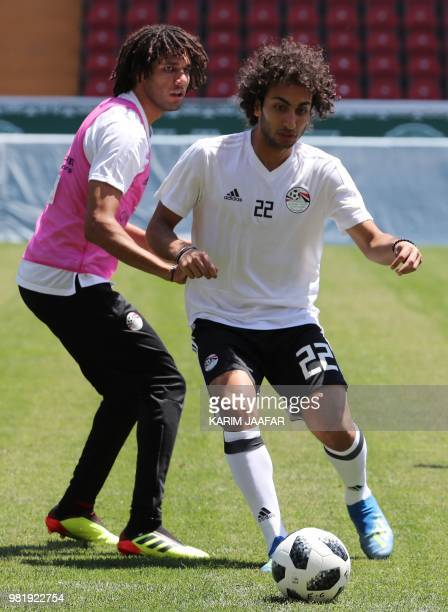 Egypt's midfielder Amr Warda controls a ball during a training session at the Akhmat Arena stadium in Grozny on June 23 2018