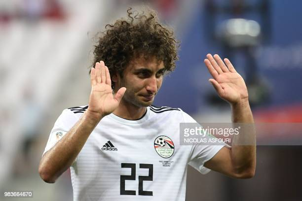 Egypt's midfielder Amr Warda gestures after the Russia 2018 World Cup Group A football match between Saudi Arabia and Egypt at the Volgograd Arena in...