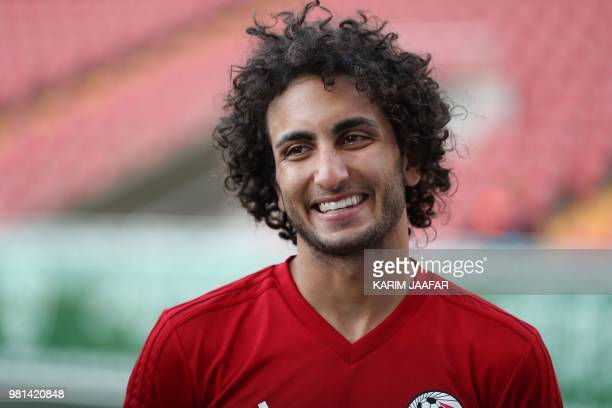 Egypt's midfielder Amr Warda speaks to the press during a training session at the Akhmat Arena stadium in Grozny on June 22 2018 during the Russia...