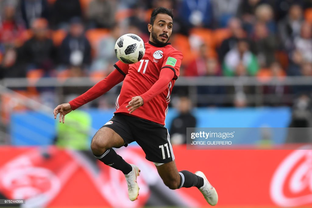 Egypt's midfielder Mahmoud 'Kahraba' Abdel-Moneim controls the ball during the Russia 2018 World Cup Group A football match between Egypt and Uruguay at the Ekaterinburg Arena in Ekaterinburg on June 15, 2018. (Photo by JORGE GUERRERO / AFP) / RESTRICTED