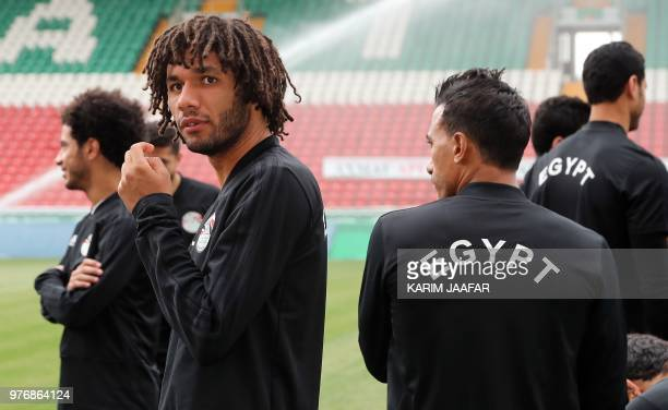 Egypt's midfielder Mohamed Elneny attends a training session during the Russia 2018 World Cup football tournament at the Akhmat Arena stadium in...