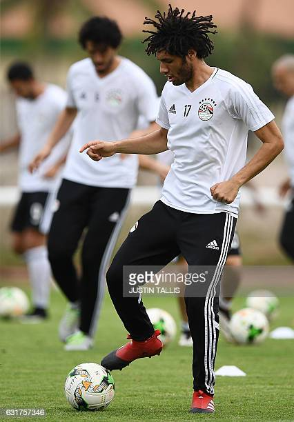 Egypt's midfielder Mohamed Elneny takes part in a training session in PortGentil on January 15 during the 2017 Africa Cup of Nations football...
