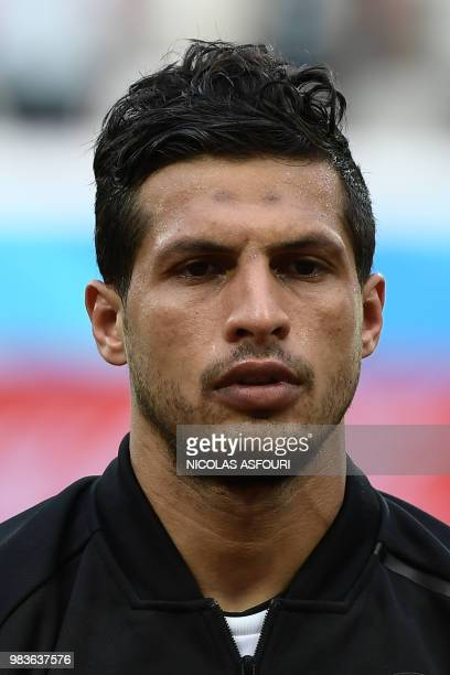 Egypt's midfielder Tarek Hamed poses for a photo before the Russia 2018 World Cup Group A football match between Saudi Arabia and Egypt at the...