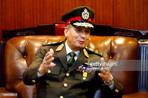 Egypt's Minister of Defence and Military Production Mohamed Ahmed Zaki meets with his Sudanese counterpart in Khartoum on November 25 2018 Sudan's...