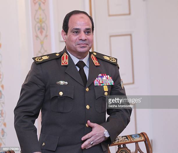 Egypt's Minister of Defense First Deputy Prime Minister and likely presidential candidate Field Marshal Abdel Fattah elSisi meets with Russian...