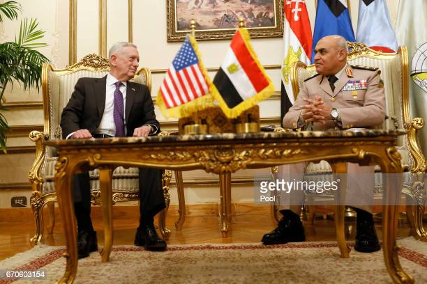 Egypt's Minister of Defense Sedki Sobhy welcomes US Defense Secretary James Mattis with an honor cordon at the Ministry of Defense on April 20 2017...
