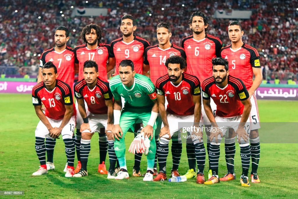 Egypt's Mohamed Abdel-Shafy, Tarek Hamed, Essam El-Hadary, Mohamed Salah, Saleh Gomaa, Ahmed Fathy, Mohamed Elneny, Hassan Ahmed, Ramadan Sobhi, Ahmed Hegazi, Mohamed Abdel-Shafy pose for a team picture during their World Cup 2018 Africa qualifying match between Egypt and Congo at the Borg el-Arab stadium in Alexandria on October 8, 2017.