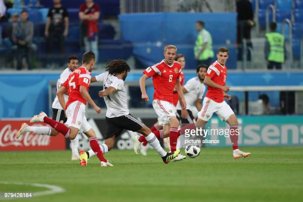 Egypt's Mohamed Elneny controls the ball during the FIFAWorld Cup 2018 Group A soccer match between Egypt and Russia at the Saint Petersburg Stadium...