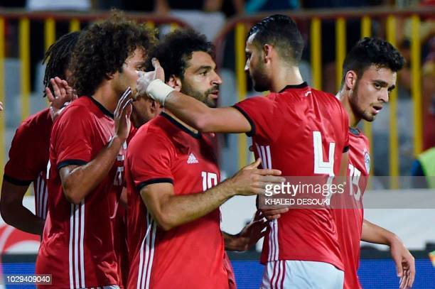 Egypts Mohamed Salah celebrates his goal with teammates during the Africa Cup of Nations qualifier match between Egypt and Niger on September 8 2018...