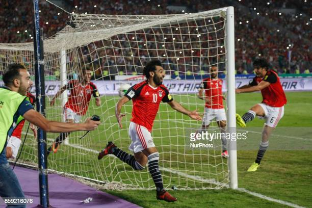 Egypts Mohamed Salah Celebrating second goal during the 2018 World Cup group E qualifying soccer match at the Borg El Arab Stadium in Alexandria...