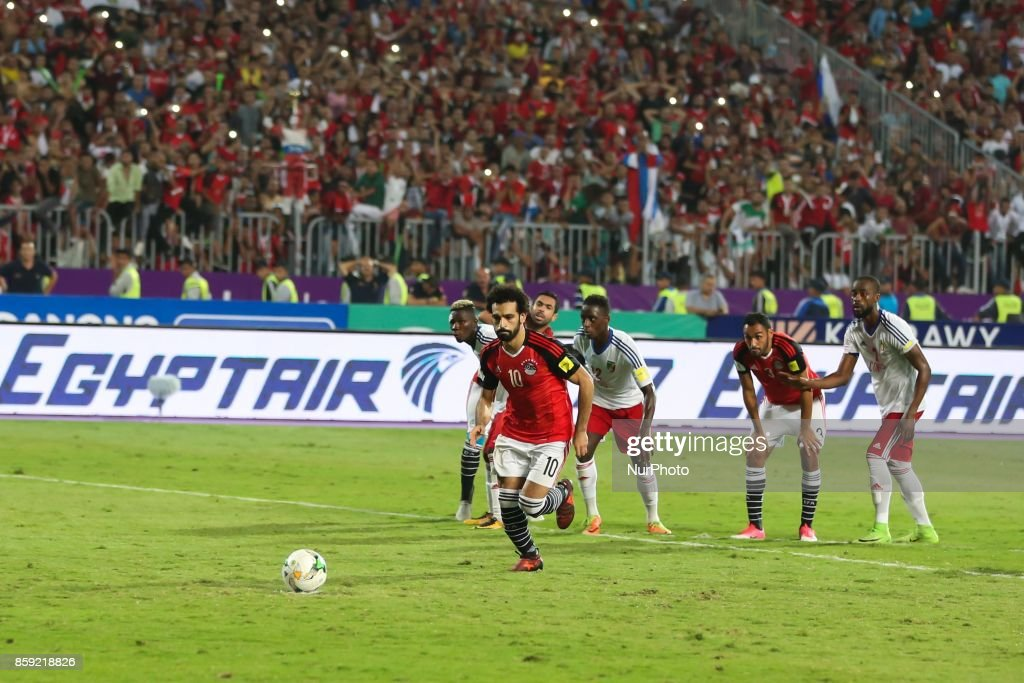 Egypt's Mohamed Salah scores a penalty during their World Cup 2018 Africa qualifying match between Egypt and Congo at the Borg el-Arab stadium in Alexandria on October 8, 2017.