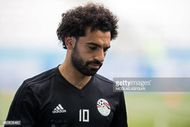 Egypt's Mohamed Salah trains with his team at the Volgograd Arena in Volgograd on June 24 on the eve of their Group A match against Saudi Arabia...