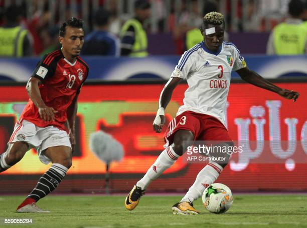 Egypt's Mohamed Salah vies for the ball against Congo's Ramaric Presley Etou Thomaso during their World Cup 2018 Africa qualifying match between...