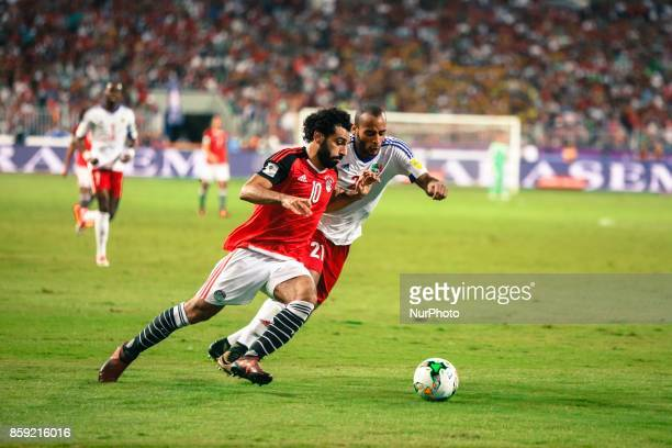 Egypt's Mohamed Salah vies for the ball against Congo's Tobias Badila during their World Cup 2018 Africa qualifying match between Egypt and Congo at...