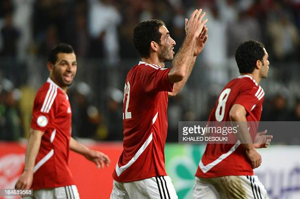 Egypt's Mohammed Aboutrika celebrates his goal against Zimbabwe in the 2014 FIFA World Cup qualifier football match in Borg elArab near the port city...
