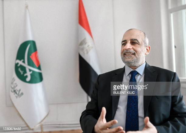 Egypt's Muslim Brotherhood spokesperson Talaat Fahmy speaks during an interview in his office on January 19 in Istanbul.