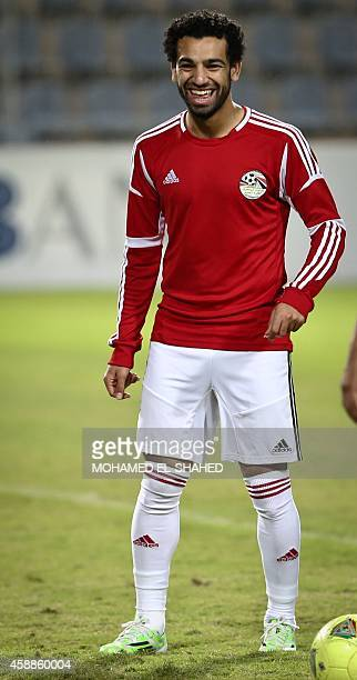 Egypt's national football team player Mohammed Salah who also plays for England's premier league club Chelsea takes part in a training session at the...