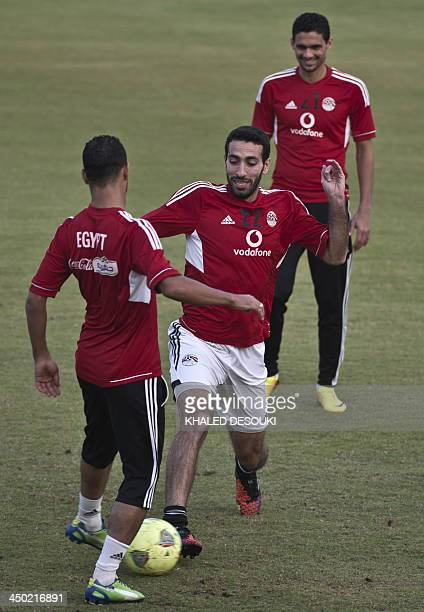 Egypt's national football team's Mohamed Aboutrika takes part in a training session in Cairo on November 17 2013 ahead of a return leg of a final...