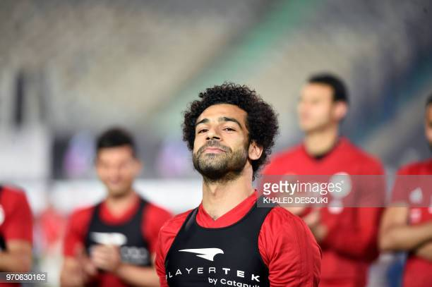 Egypt's national team footballer and Liverpool's forward Mohamed Salah takes part in a training session at Cairo international stadium in Cairo on...