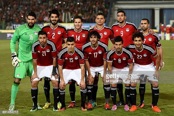 Egypt's National team pose for a group photo ahead of the international friendly football match between Egypt and Tunisia at the Cairo International...