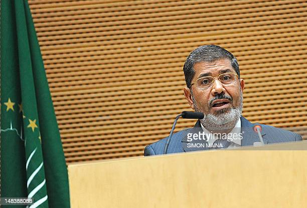 Egypt's newly elected President Mohamed Morsi addresses officials and heads of states on July 15, 2012 during the opening of the African Union summit...