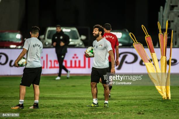 Egypt's player Mohamed Salah takes part in a training session at Borg alArab Stadium near Alexandria on September 4 on the eve of the World Cup 2018...