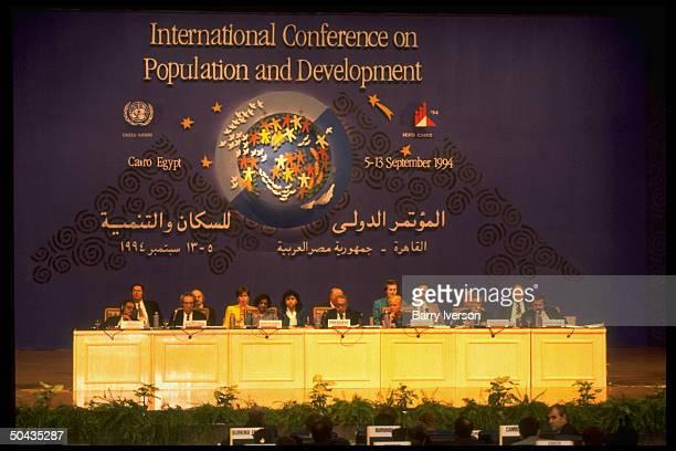 Egypt's Population Min. & ICPD pres. Maher Mahran & conf. Secy. Gen. Nafis Sadik at UN Intl. Conf. On Population & Development.