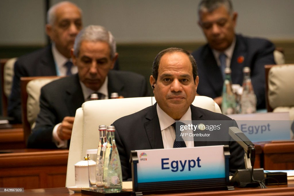 Egypt's President Abdel Fattah al-Sisi attends the Dialogue of Emerging Market and Developing Countries on the sidelines of the 2017 BRICS Summit in Xiamen, southeastern China's Fujian Province on September 5, 2017. Xi opened the annual summit of BRICS leaders that already has been upstaged by North Korea's latest nuclear weapons provocation. / AFP PHOTO / POOL / Mark Schiefelbein