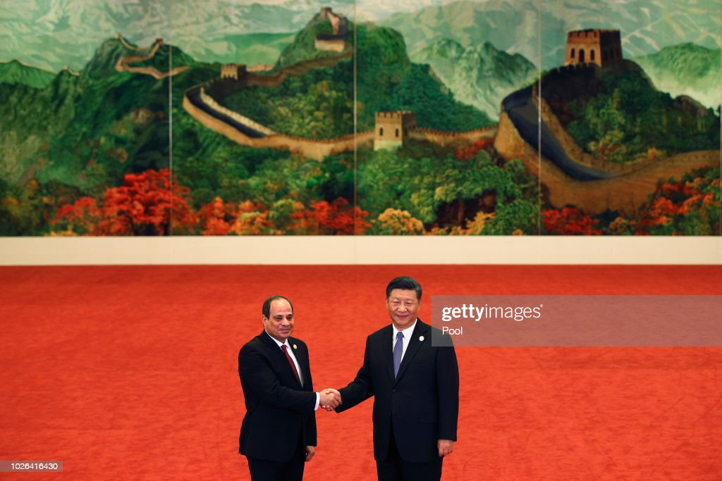 Egypt's President Abdel Fattah al-Sisi, left, shakes hands with Chinese President Xi Jinping during the Forum on China-Africa Cooperation held at the Great Hall of the People on September 3, 2018 in Beijing, China.