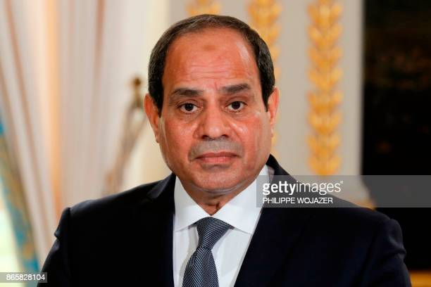 Egypt's President Abdel Fattah alSisi looks on during a press conference with his French counterpart at the Elysee Palace in Paris on October 24 2017...