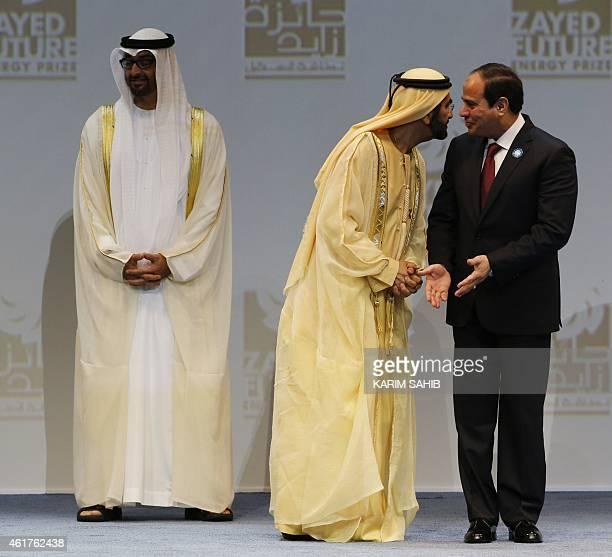 Egypt's President Abdel Fattah alSisi speaks to Dubai's ruler Sheikh Mohammad bin Rashed alMaktoum who is also vice president and prime minister of...