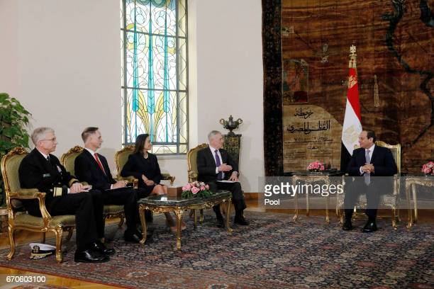 Egypt's President Abdel Fattah alSisi welcomes US Defense Secretary James Mattis and his delegation including White House Deputy National Security...