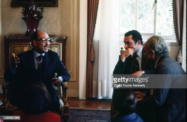 Egypt's President Anwar al Sadat in discussion with his Vice President Hosni Mubarak, Cairo, December 1977.
