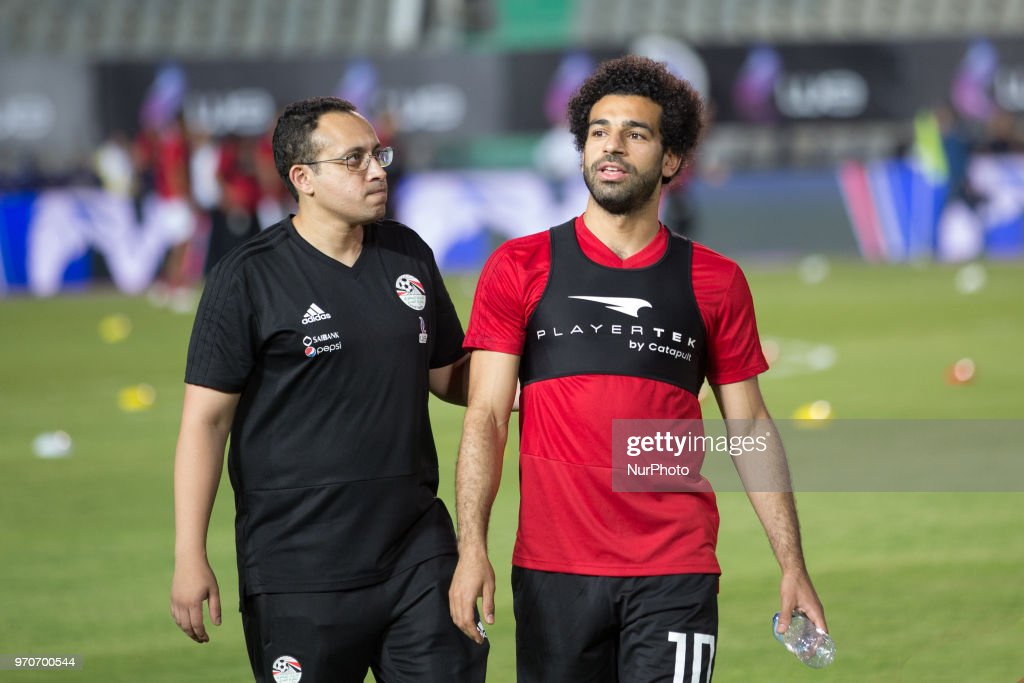 Egypt's soccer star Mohamed Salah (R) walks with Egypt's National Team doctor Mohamed Abou El-Ela during a training session for the team in preparation for the 2018 World Cup in Russia, at Cairo Stadium, in Cairo, Egypt, 09 June 2018.