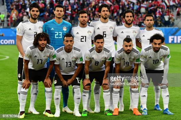 Egypt's team players Egypt's defender Ali Gabr Egypt's goalkeeper Mohamed El Shenawy Egypt's forward Mahmoud 'Trezeguet' Hassan Egypt's defender...