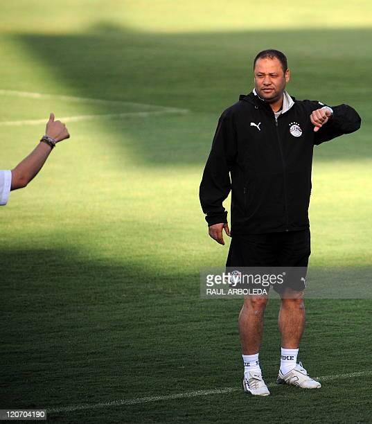 Egypt's U20 football team coach El Sayed Diaa gestures during a training session at Atanasio Girardot stadium in Medellin Antioquia department...