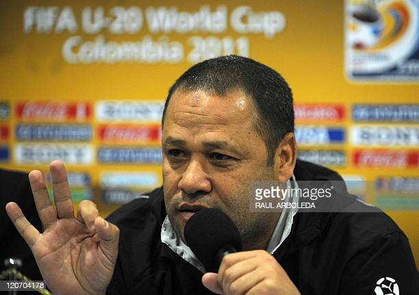 Egypt's U20 football team coach El Sayed Diaa speaks during a press conference in Medellin Antioquia department Colombia on August 8 2011 Egypt's...